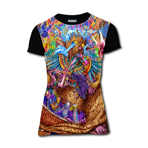Psychedelic Hippy Art T-shirts Tee Shirt for Women Tops Round Black (Hippy Costumes Ideas)