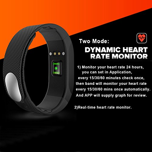 SMA Fitness Tracker, Bluetooth 4.0, Heart Rate sleep Monitor, Waterproof watch, Activity Wristband, Calories Track Step Track Smart Bracelet For iPhone & Android phones Black color Men/Women by SMA (Image #2)