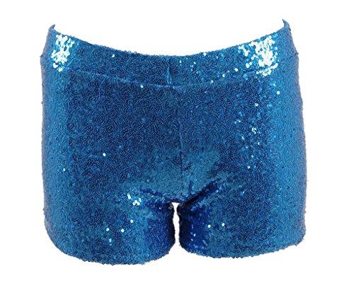 Women Sexy Hot Glitter Sequin Shorts Summer Club Wear Multi-color (US Women-S, Blue)
