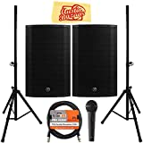 Mackie Thump15A 15' Powered Loudspeaker Bundle with Pair of Speakers, Stands, Microphone, XLR Cable, and Austin Bazaar Polishing Cloth