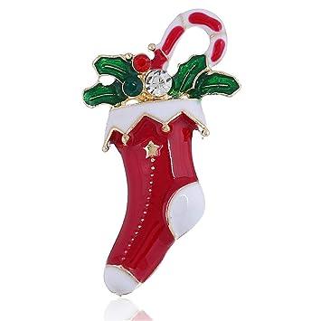 OOFAY Broche Navidad Regalo Calcetines Medias Copo De Nieve Calcetines Muletas Botas Collar Aguja Diamante Dibujos Animados Metal Moda Damas Personalidad ...