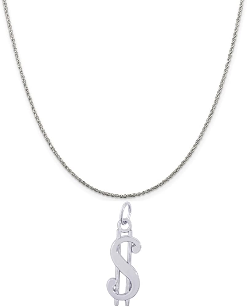 Rembrandt Charms Sterling Silver Dollar Sign Charm on a 16 18 or 20 inch Rope Box or Curb Chain Necklace
