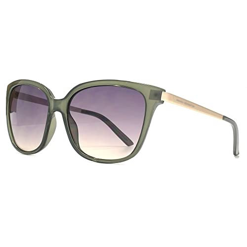 French Connection Metall-Tempel quadratische Sonnenbrille in milchig grün FCU660