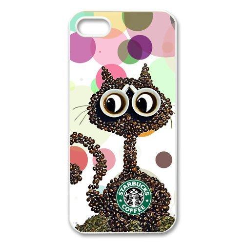 Unique Designed Starbucks Coffee iPhone 5 5S Lovely Cat Plastic Arts Durable Cover Case