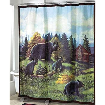 Black Bear And Cubs 70 Fabric Bath Shower Curtain Outlet