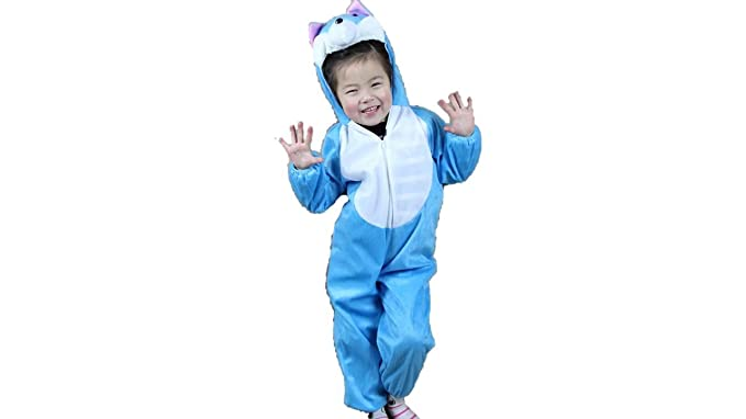 Kids Animal Costumes Boys Girls Pajamas Fancy Dress Outfit Cosplay Children Onesies (L (for