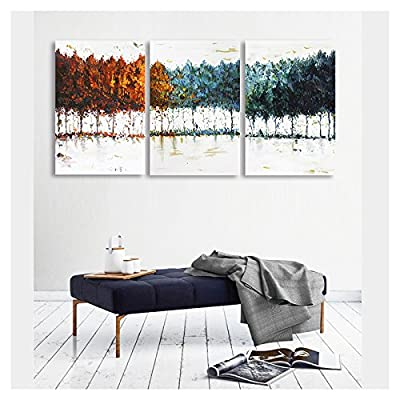 Made For You, Marvelous Piece of Art, Abstract Colorful Trees Watercolor Painting Style x3 Panels