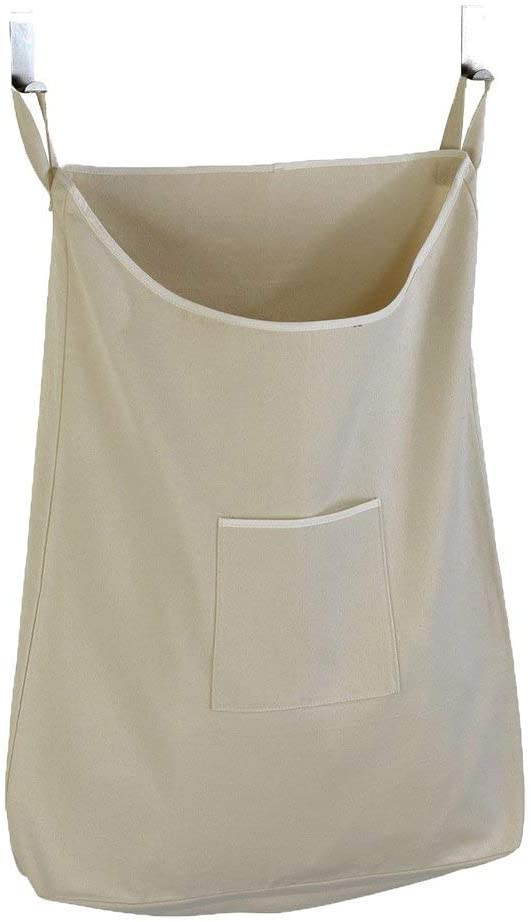 GORISEN Laundry Collector, Laundry Hamper, Door Hanging Laundry Bag with Hooks (Beige, 65 Liters)