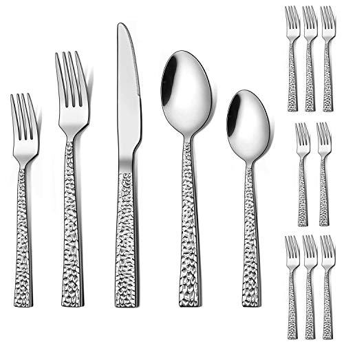 LIANYU 48-Piece Silverware Set with Extra Forks, Stainless Steel Hammered Square Flatware Cutlery Set for 8, Fancy…