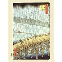 Hiroshige japonais Brusque de douche sur Shin–Ohashi pont et ATake Poster d'une.