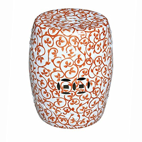 Porcelain Harmony Lotus (Asian Traditional Orange Twisted Lotus Garden Stool Decorative Porcelain Ceramic Circle Oriental Furniture)