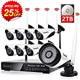 CANAVIS Wireless Surveillance Camera System with 2TB Hard Drive, 1080P HDMI NVR 8CH 1080p HD Wireless Cameras, Night Vision, Motion Detection, Manual Record or Motion Record CCTV Surveillance Systems