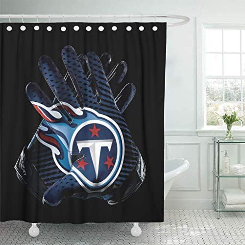 Ladble Rugby Decor Shower Curtain Set with Hooks Tennessee City Titans Football Team Sports Receiver Gloves 72 X 72 Inches Waterproof Mildew Proof Polyester Bathroom
