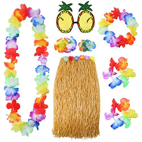 Elcoho 8 Pieces Hawaiian Hula Grass Skirt Sunglasses Leis Necklace Bracelet -