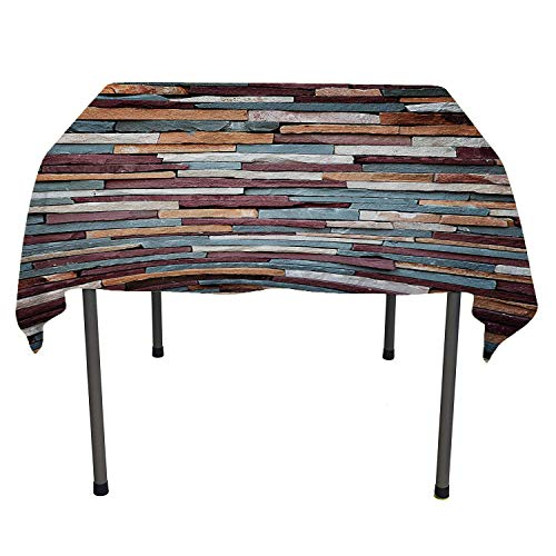 Wall, Table Cover Spillproof TableclothAbstract Background of Colored Stone Surface Retro Style Urban House Brick Design, for Outdoor and Indoor Use, 36x36 Inch Mauve Teal and Ivory