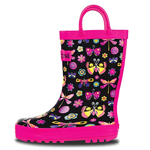 LONECONE Rain Boots with Easy-On Handles in Fun Patterns for Toddlers and Kids, Butterfly Boots, 1 Little Kid
