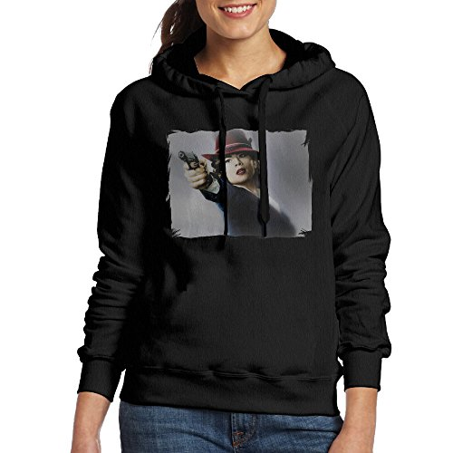 FUOALF Women's Pullover Agent Carter Poster Hooded Sweatshirt Black XL (Peggy Carter Captain America 2)