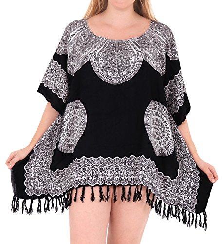 beachwear bagno costume bikini del copertura kimono donne LEELA bagno costumi LA delle sciolto da Nero da l316 UPS camicetta abiti qCfWv61