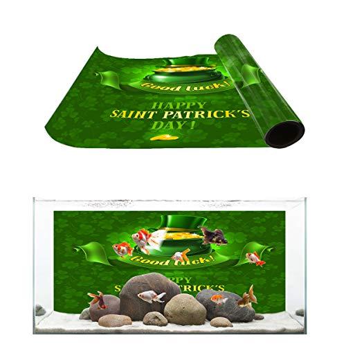 Libaoge Good Luck Fish Tank Background, Irish Saint Patrick's Day Shamrock Background Aquarium Décor Backgrounds Sticker Paper Decoration PVC Adhesive Photo Backdrop 36.4