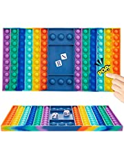 Big Pop Game Fidget Chess Board Toy,Huge Rainbow Chess Board Push Bubble Popper Fidget Sensory Toys for Parent-Child Time, Interactive Jumbo Stress Relief Figetget Toy to Play with Friends