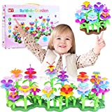 Flower Garden Building Toys for 3 Years Old Girls, 134PCS STEM Toys DIY Build a Bouquet Sets Indoor and Outdoor Toys for toddles Preschool Activities Education Girls Toys