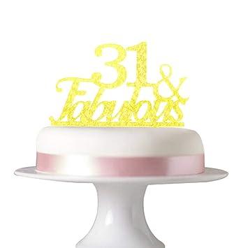 31 Fabulous Cake Topper For 31st Birthday Party Decorationswedding Anniversary Beautiful Glitter Acrylic Gold