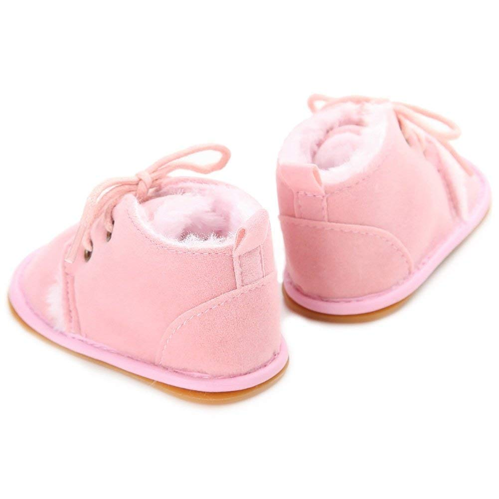Newborn Baby Boys Girls Bow Fur Soft Sole Crib Shoes Slip-On Moccasins Slippers Infant Toddler Pre-Walker