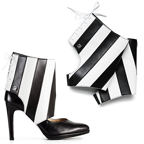 Black and White Shoe Accessories Molinis. Transform your heels into ankle boots. Makes walking in high heels comfortable. Size M, 7/8.5 (Striped Booties)