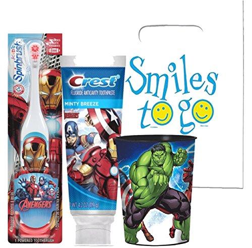 Marvel Avengers Turbo Powered Spin Toothbrush & Crest Avengers Fruit Blast Toothpaste 4.2 oz Plus Bonus Avengers 22oz Mouthwash Rinse Cup! …