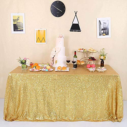 GFCC Seamless Gold Sequin Tablecloth Glitter 60x102-inch for Wedding Party Christmas Event Banquet Table Cloth Sparkly Rectangle Cake Table Cover Linen