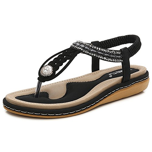 BELLOO Women's Summer Boho Thongs Sandals Peep-Toe Flip Flops Flat Shoes with Elastic T-Strap Black