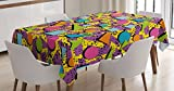 Ambesonne Vintage Tablecloth, Funky Geometric 80s Memphis Fashion Style Colorful Figures Pop Art Inspired Pattern, Dining Room Kitchen Rectangular Table Cover, 60 W X 90 L Inches, Purple Yellow