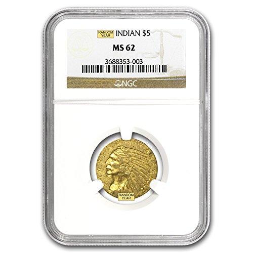 1908 – 1929 $5 Indian Gold Half Eagle MS-62 NGC G$5 MS-62 NGC