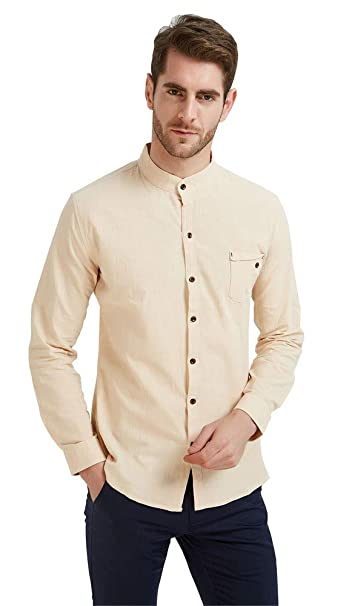 caea440968 Plaid&Plain Men's Slim Fit Long Sleeve Banded Collar Solid Linen Shirts  Light ...