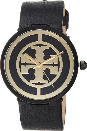 Tory Burch Women's The Reva Leather Watch, Black/Gold, One ()