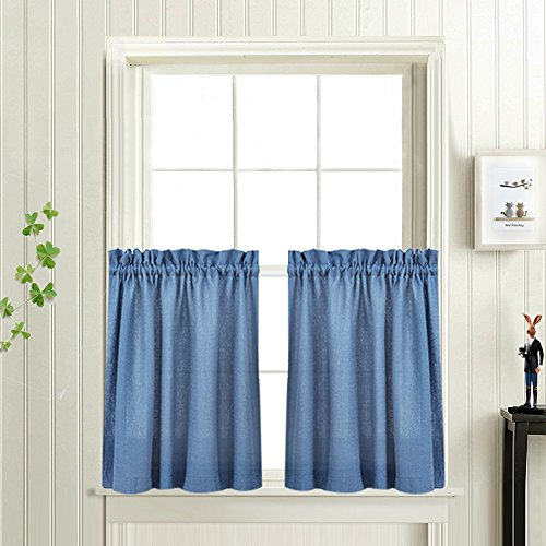 24 inches Kitchen Tier Curtains Windows Closet Casual Weave Bathroom Short Curtain Panels Semi Sheer Privacy Half Window Curtain Drapes Blue, 1 - Kitchen Kitchen Curtains Tier