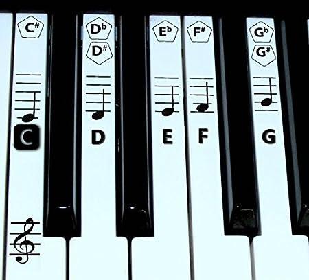 FineFun Notas adheribles para teclas de piano y teclado. Pegatinas para notas para aprendizaje de piano, etiqueta de vinilo (negro)., negro