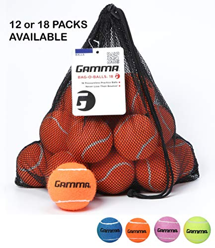 Gamma Bag of Pressureless Tennis Balls - Sturdy & Reuseable Mesh Bag with Drawstring for Easy Transport - Bag-O-Balls (18-Pack of Balls, Orange)