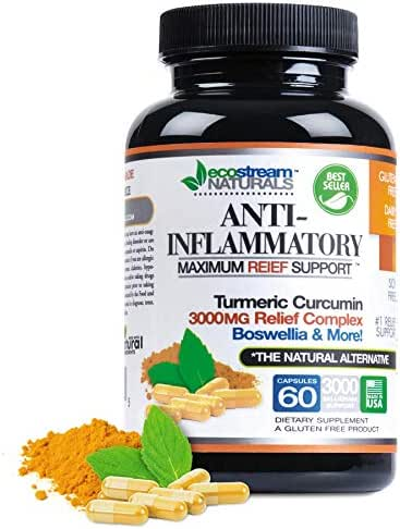 Anti-Inflammatory by Ecostream Naturals, Relieves Inflammation-Induced Pain, Day or Night Use, Naturally Derived Ingredients, Safe and Effective, Gluten-Free, 60 Vegetarian Capsules