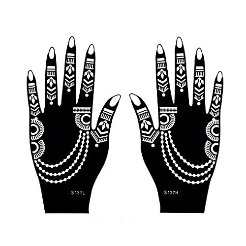 Henna Tattoo Stencil / Temporary Tattoo Temples Set of 8 Sheets,Indian Arabian Tattoo Reusable Stickers Stencils Body Art Designs for Hands (Vintage Collection) by Diva Woo (Image #7)