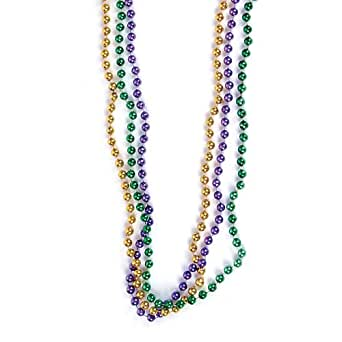 33 inch 07mm Round Metallic Purple Gold and Green Mardi Gras Beads - 6 Dozen (72 necklaces)