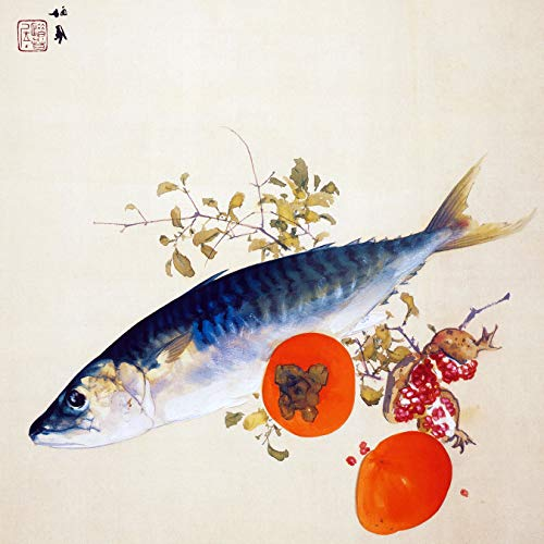 Japan Still Life Fish Fruit Garnet Persimmon by Takeuchi Seiho Accent Tile Mural Kitchen Bathroom Wall Backsplash Behind Stove Range Sink Splashback One Tile 6