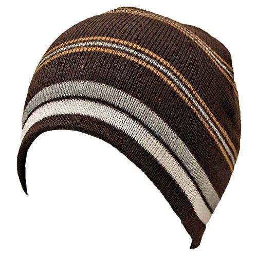 Luxury Divas Brown Gray & White Striped Tight Fitting Beanie Cap Hat