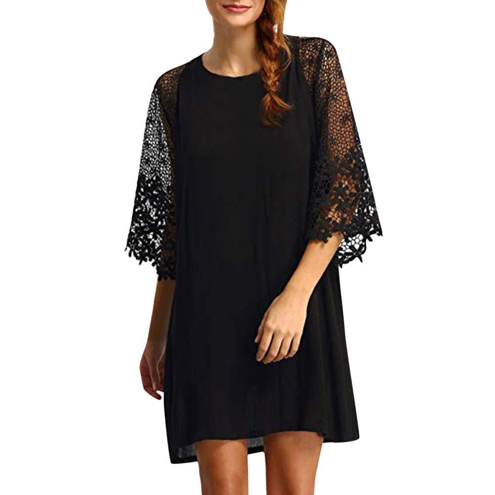 〓COOlCCI〓Women's Casual Crewneck Half Sleeve Summer Lace 3/4 Sleeve Chiffon Tunic Dress Shift Mini Dresses Black