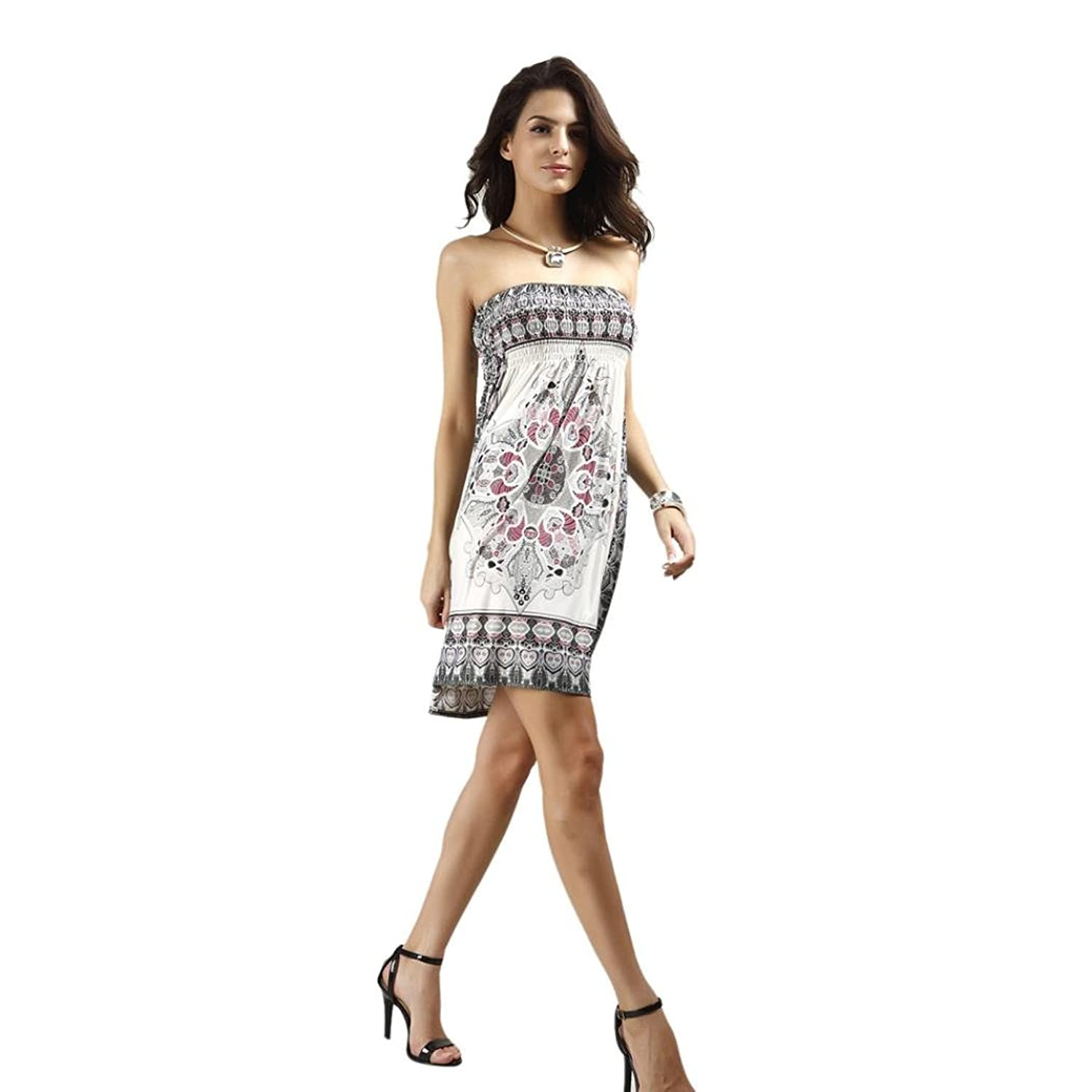 Beach Dress Vestidos, Franterd Women Vintage Ropa Mujer Print Dress at Amazon Womens Clothing store: