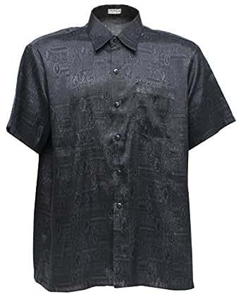 Men 39 s 100 thai silk shirt black with mosaic artwork for Mens silk shirts amazon
