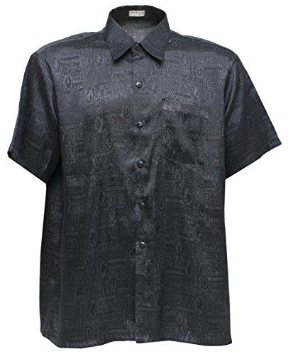 Men's Shirt Short Sleeve Jacquard Thai Silk (XXXL, Black)