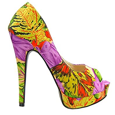 Show Story Tropical Exotic Printed Peep Toe Stiletto Platform Pump Heels Shoes,YF04311 (4US, Multiple(Green))