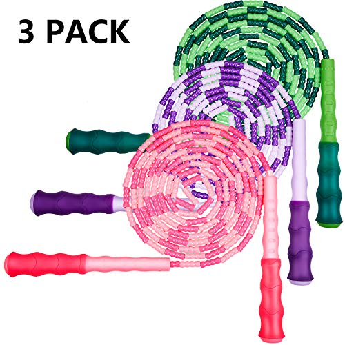 Zonon 3 Pieces Soft Beaded Jump Rope Adjustable Segment Skipping Rope Tangle-Free Jump Rope with Anti-Slip Grip for…