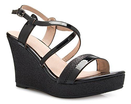- OLIVIA K Women's Sexy Strappy Platform Wedge Glitter Sandals